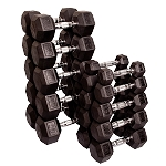 Body Solid 5-50lb Rubber Coated Dumbbell Set (Pairs)